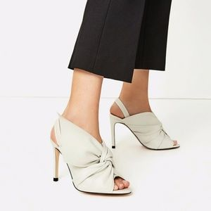 Zara Leather Sandals Heels with Bow 6.5